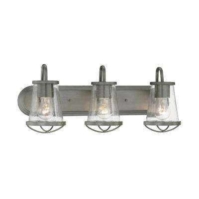 Rustic vanity lighting lighting the home depot darby 3 light weathered iron bath bar light mozeypictures Gallery