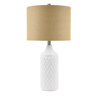 27 in. White Textured Ceramic Table Lamp with Natural Linen Shade