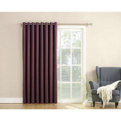 Semi-Opaque Gregory 100 in. by 84 in. Solid Window Patio Panel in Plum