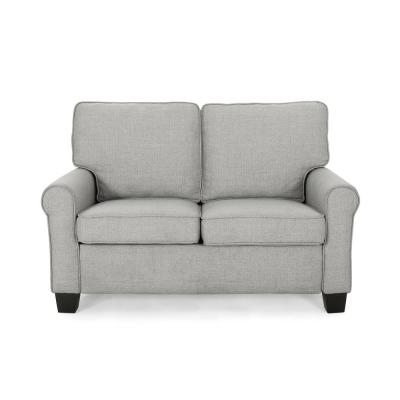 Bernietta 54 in. Gray/Dark Brown Polyester 2-Seater Loveseat with Square Arms