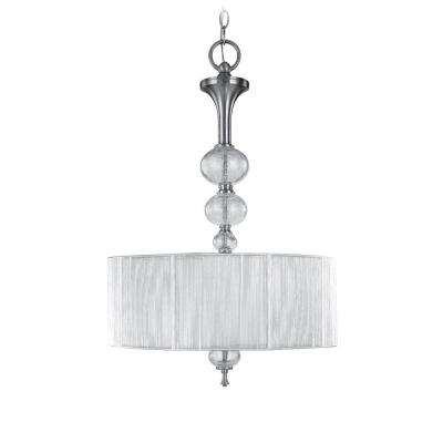 Bayonne Collection 3-Light Brushed Nickel Inverted Hanging Pendant