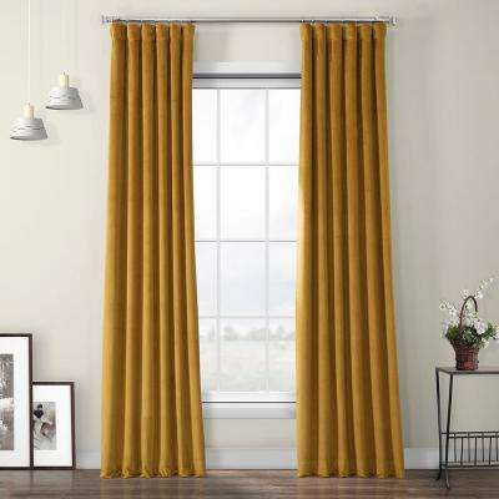 Retro Gold Heritage Room Darkening Plush Velvet Curtain - 50 in. W x 108 in. L