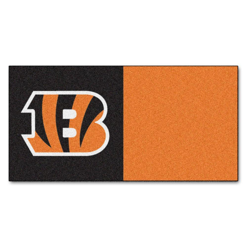 FANMATS NFL - Cincinnati Bengals Orange and Black Nylon 18 in. x 18 in. Carpet Tile (20 Tiles/Case)
