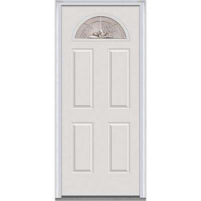 36 in. x 80 in. Heirlooms Left-Hand Inswing 1/4-Lite Decorative 4-Panel Painted Fiberglass Smooth Prehung Front Door