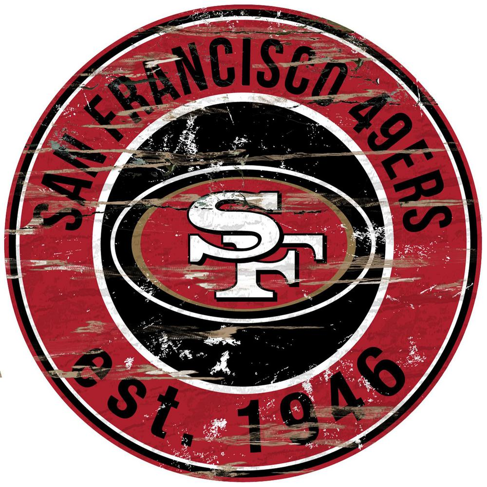 "24"" NFL San Francisco 49ers Round Distressed Sign"