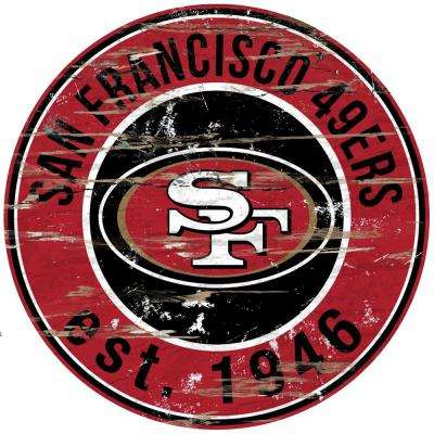 """24"""" NFL San Francisco 49ers Round Distressed Sign"""