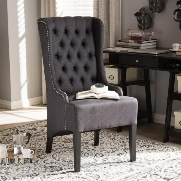 Baxton Studio Vincent Dark Gray Fabric Upholstered Accent Chair 28862-6311-HD