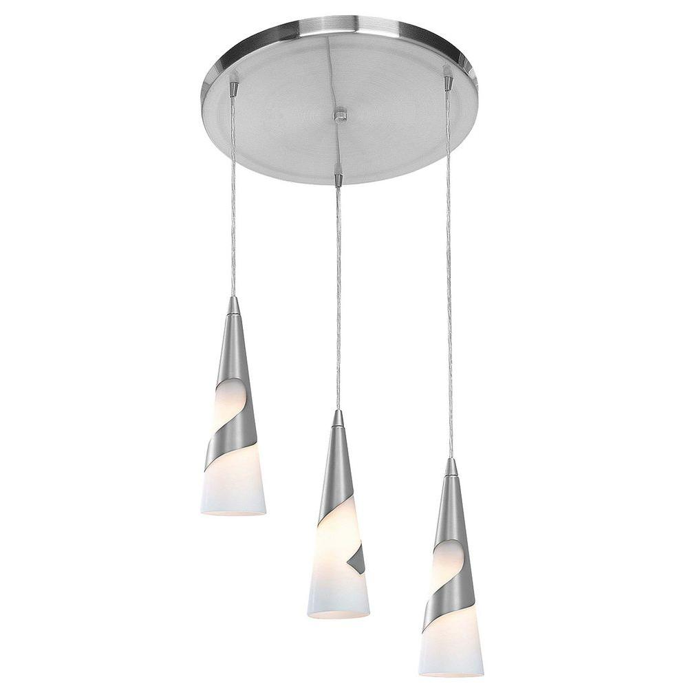 Access Lighting 3-Light Pendant Brushed Steel Finish Opal Glass-DISCONTINUED