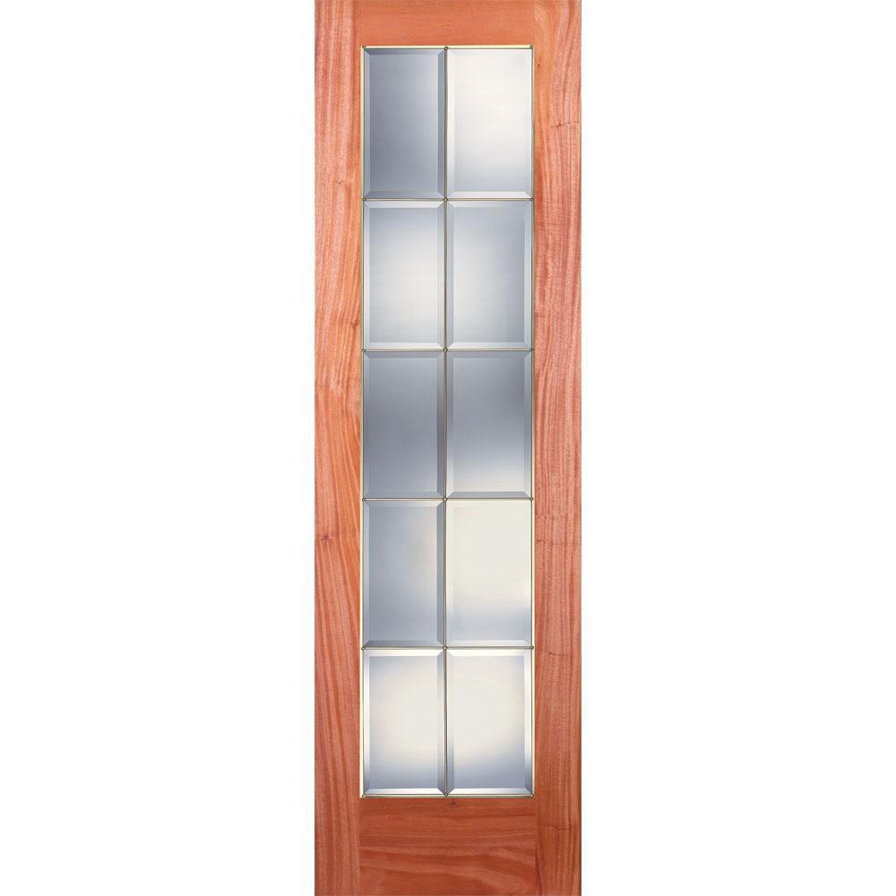 Feather River Doors 24 in. x 80 in. 10 Lite Unfinished Mahogany Clear Bevel Brass Woodgrain Interior Door Slab