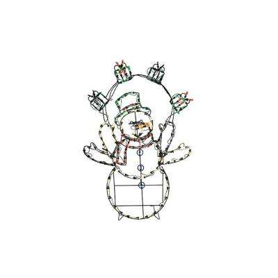 42 in. Christmas Pre-Lit Multi-Color LED Animation Snowman with Gifts Outdoor Decoration