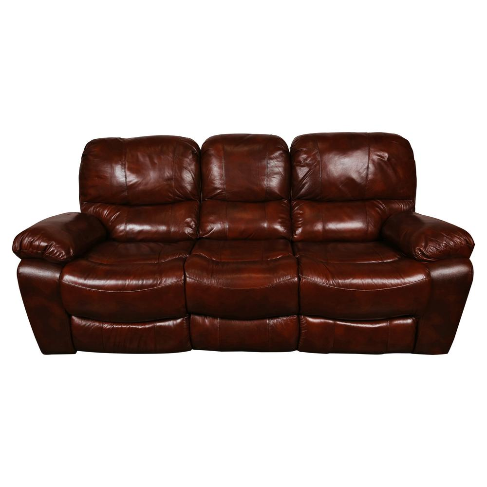 Delicieux Ramsey Cognac Brown Transitional Top Grain Leather Reclining Sofa