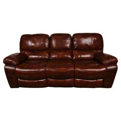 Ramsey Cognac Brown Transitional Top Grain Leather Reclining Sofa