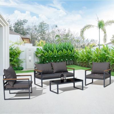 4-Piece Aluminum Outdoor Patio Conversation Set with Black Cushions