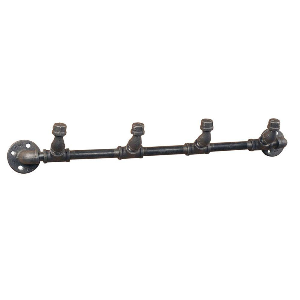 Pipe Decor Black Iron 4-Hook Coat Rack Kit Industrial Steel Grey