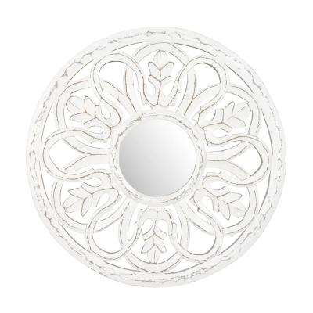 Dunfey White Carved Mirror