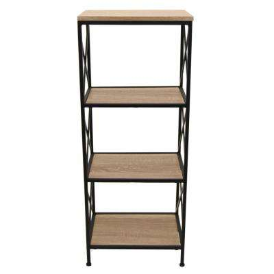 15.5 in. x 11.5 in. x 39 in. Brown Wood and Metal 4-Tier Book Shelf
