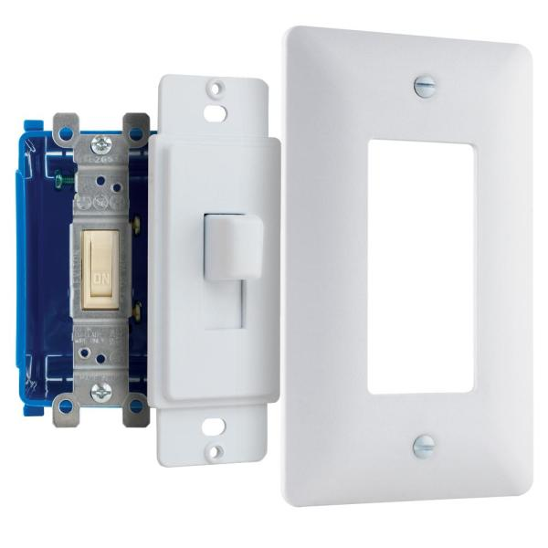 Commercial Electric 1 Gang Decorator Plastic Wall Plate White Textured Ppw R The Home Depot