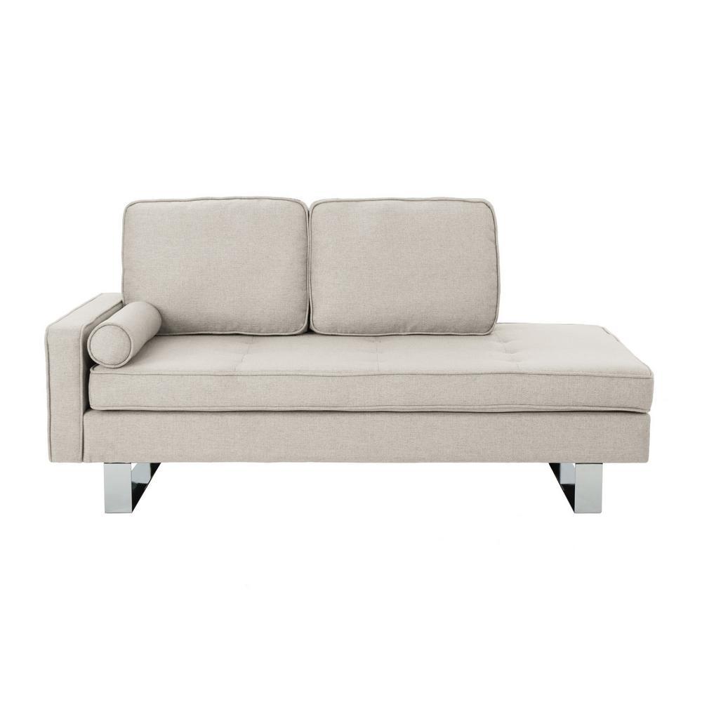 Typhaine Modern Beige Fabric Chaise Loveseat
