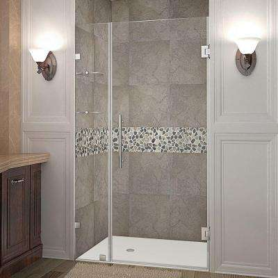 Nautis GS 38 in. x 72 in. Frameless Hinged Shower Door in Stainless Steel with Glass Shelves
