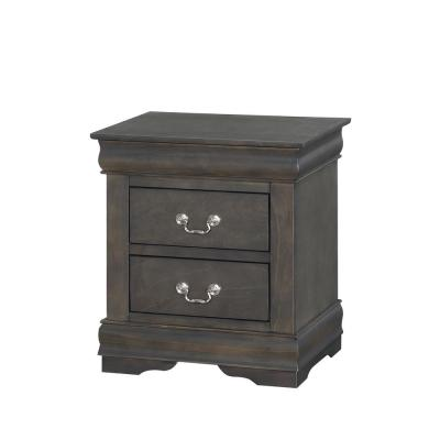 Amelia 2-Drawer 15 in. x 21 in. x 24 in. Dark Gray Wood Nightstand