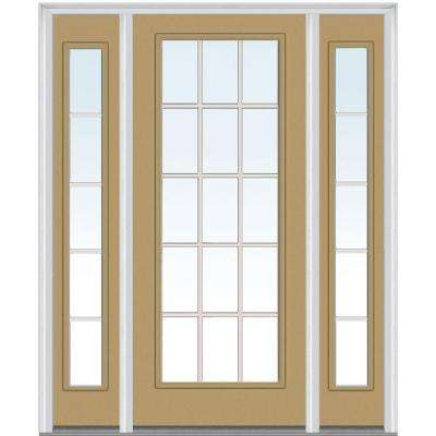 64 in. x 80 in. Internal Grilles Right-Hand Inswing Full Lite Clear Painted Steel Prehung Front Door with Sidelites