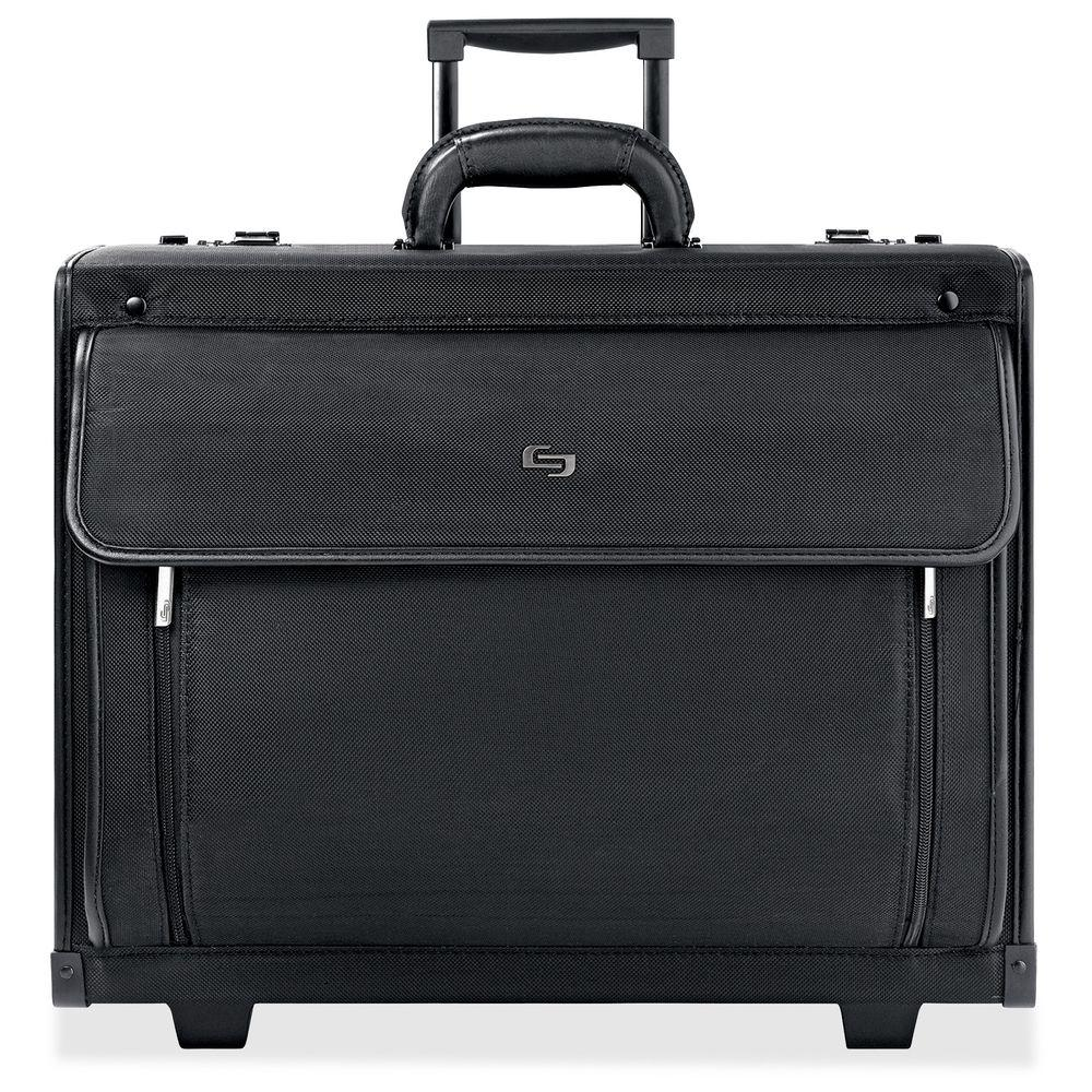 16 in. Black Polyvinyl Notebook Roller Carrying Case with Handle
