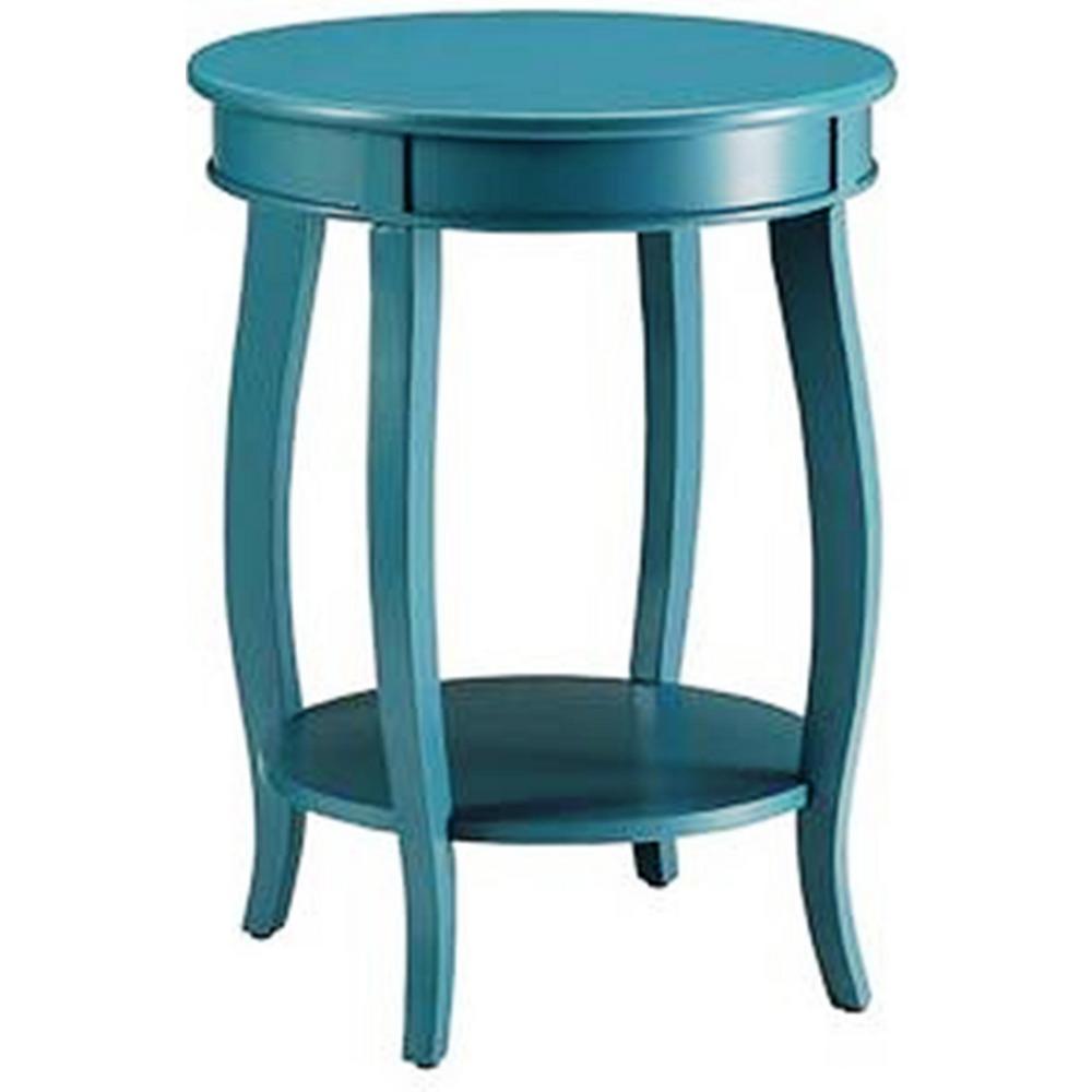 Amelia Teal Solid Wood Side Table
