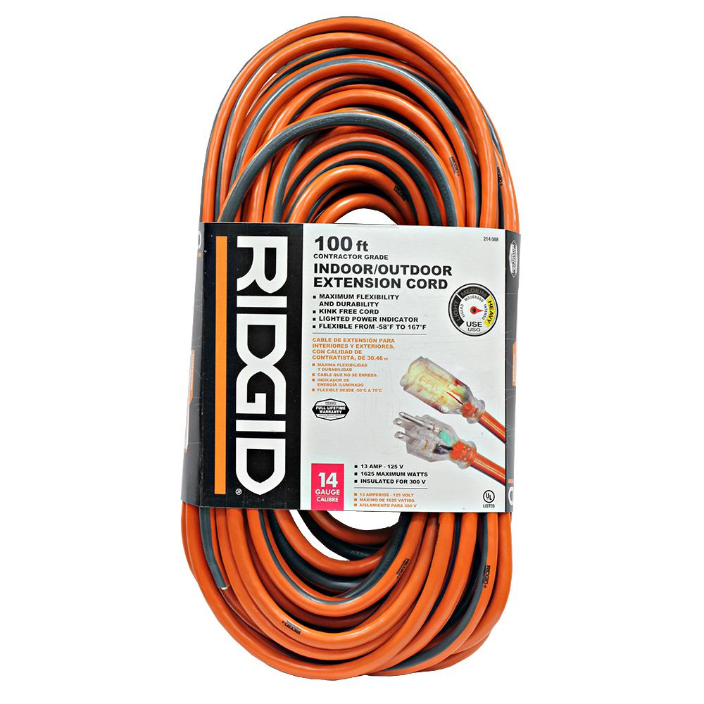 RIDGID 100 Ft. 14/3 Outdoor Extension Cord-657-143100RL6A