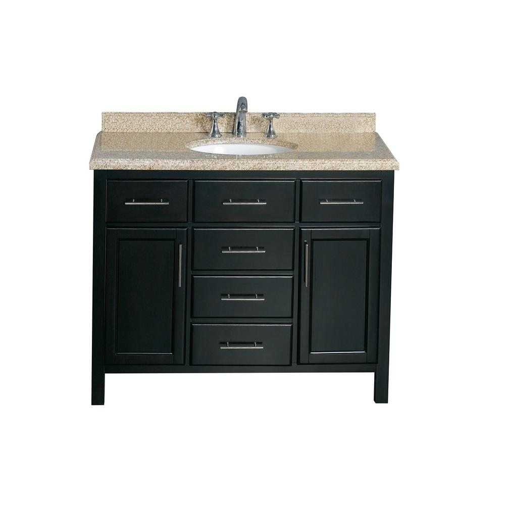 Ove decors gavin 42 in vanity in tobacco with granite for Granite bathroom vanity
