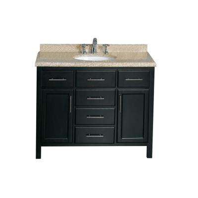 Malibu 42 in. W Vanity in Espresso with Granite Vanity Top in Beige with White Basin