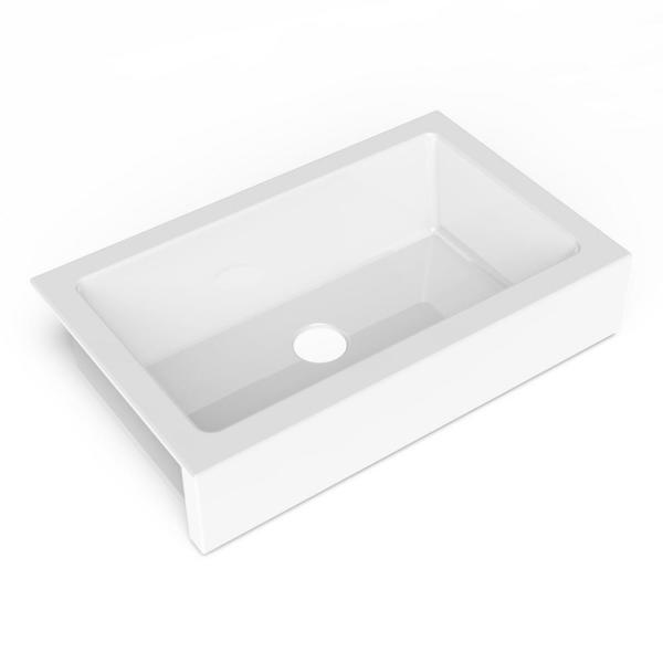Elevate Quick-Fit Undermount Farmhouse Fireclay 33.85 Single Bowl Kitchen Sink in Crisp White