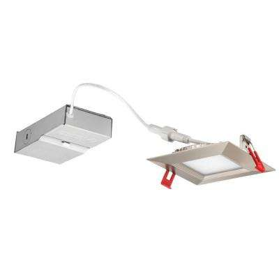 WF4 Wafer Square 4 in. Brushed Nickel 4000K New Construction or Remodel Wet Location Recessed Integrated LED Kit