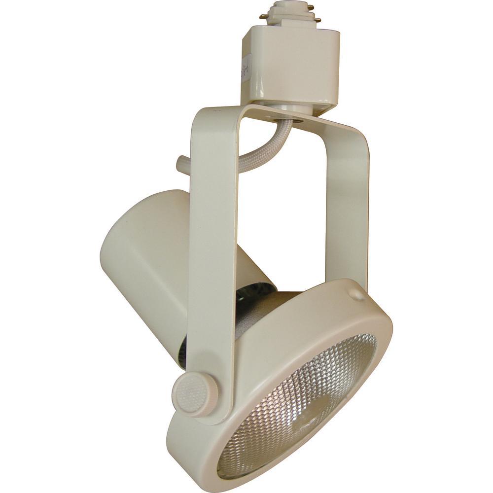 1-Light White Adjustable Medium Gimbal Ring Track Lighting Head