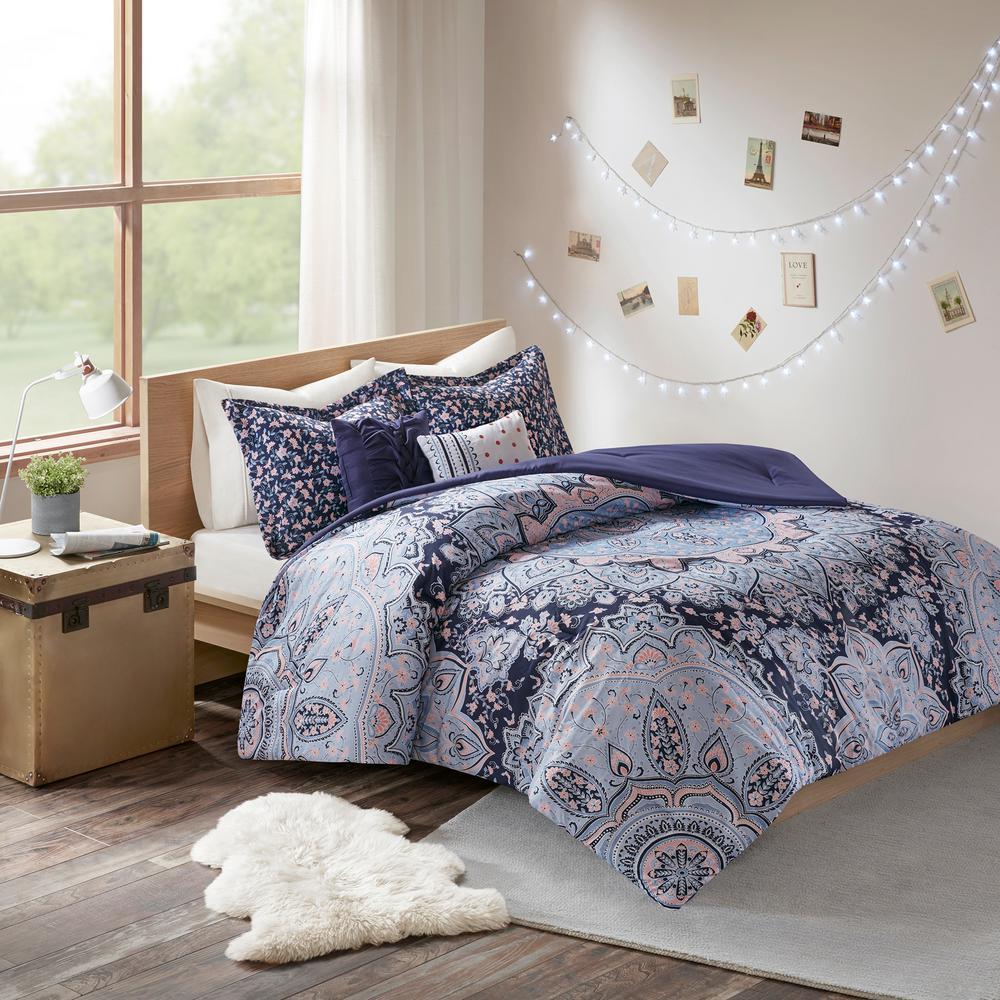 Skye 4-Piece Blue Twin Comforter Set