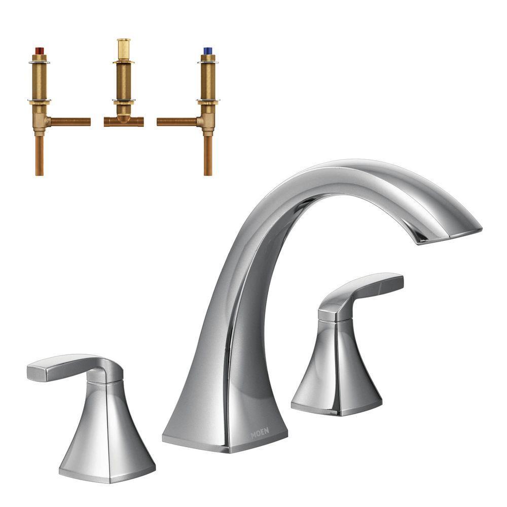 Voss 2-Handle Deck-Mount High Arc Roman Tub Faucet Trim Kit with Valve in Chrome
