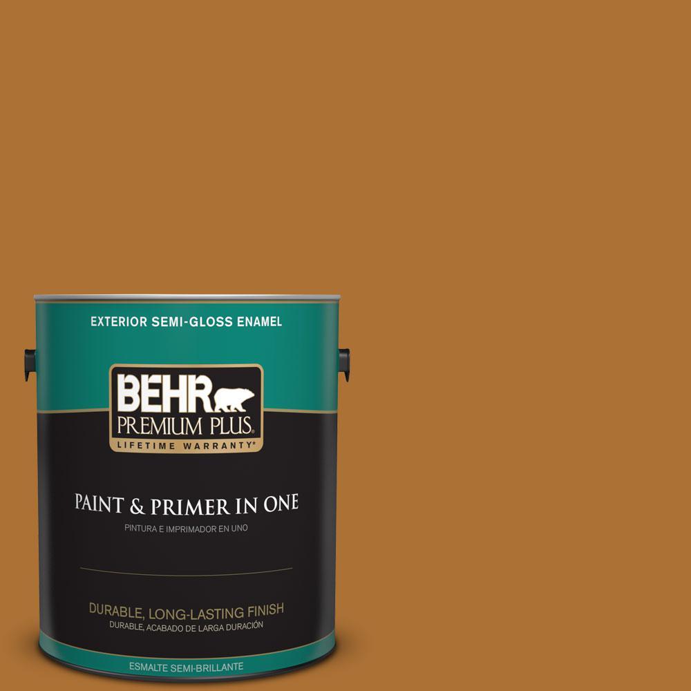 BEHR Premium Plus 1-gal. #S-H-320 Enchanting Ginger Semi-Gloss Enamel Exterior Paint
