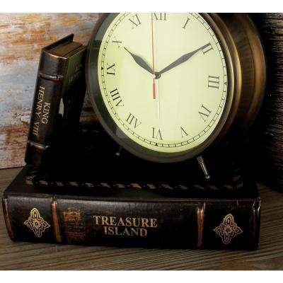"""Vintage Rectangular Wood and Faux Leather """"Treasure Island"""" Book Boxes (Set of 3)"""