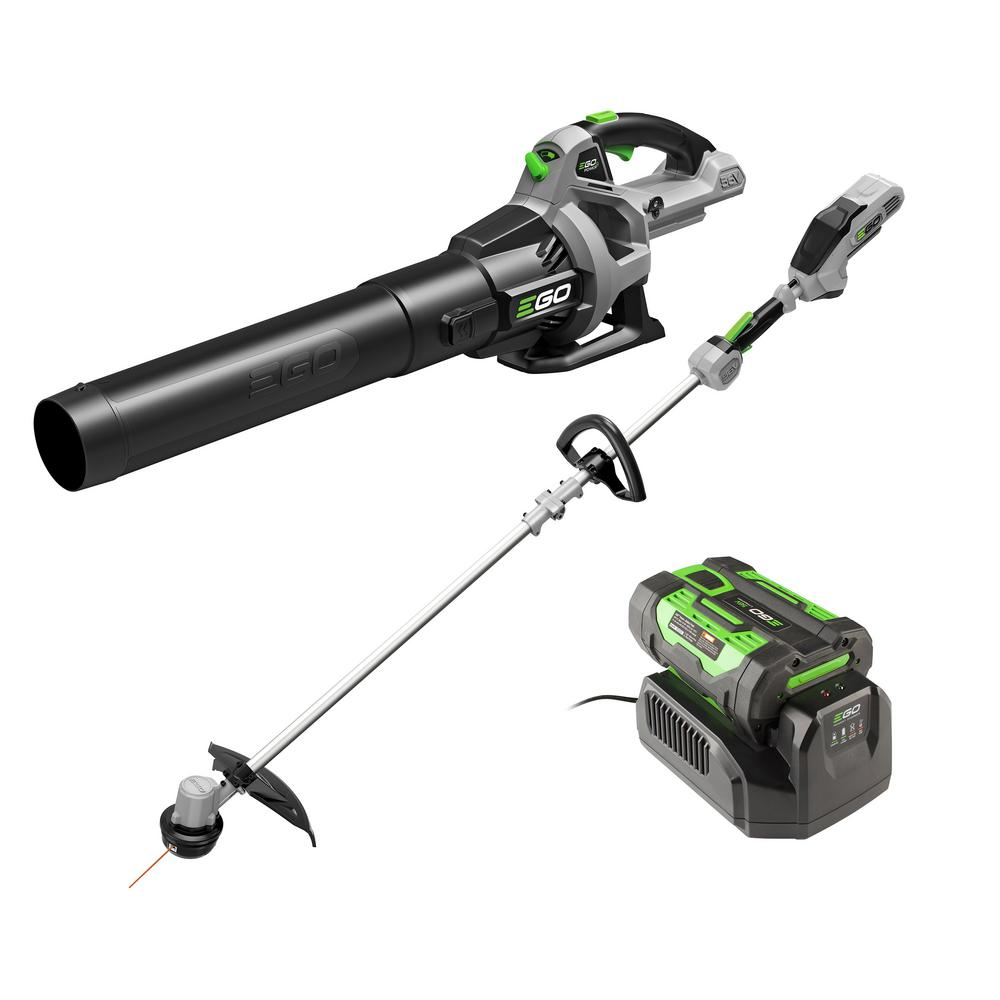 EGO 56V Lithium-Ion Cordless Electric 15 in. String Trimmer & 530 CFM Blower Combo Kit, 2.5 Ah Battery and Charger Included