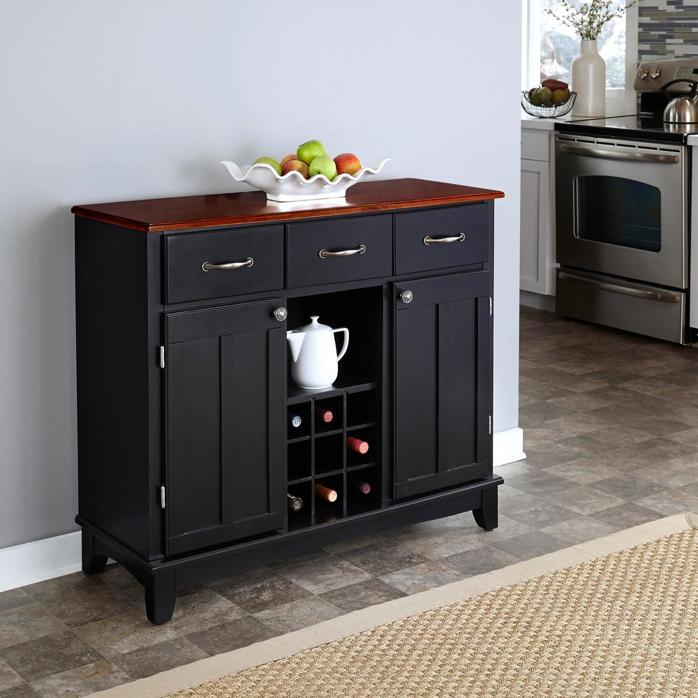 Oak Kitchen Buffet Cabinet Black and Cherry Buffet with Wine Storage