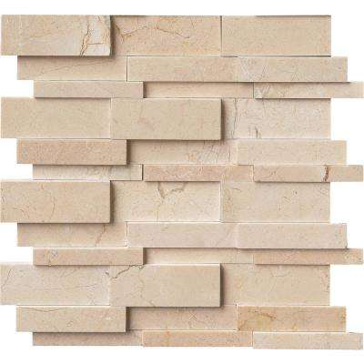Hedron 3D Interlocking 12 in. x 12 in. x 10mm Marble Mesh-Mounted Mosaic Wall Tile (10 sq. ft. / case)