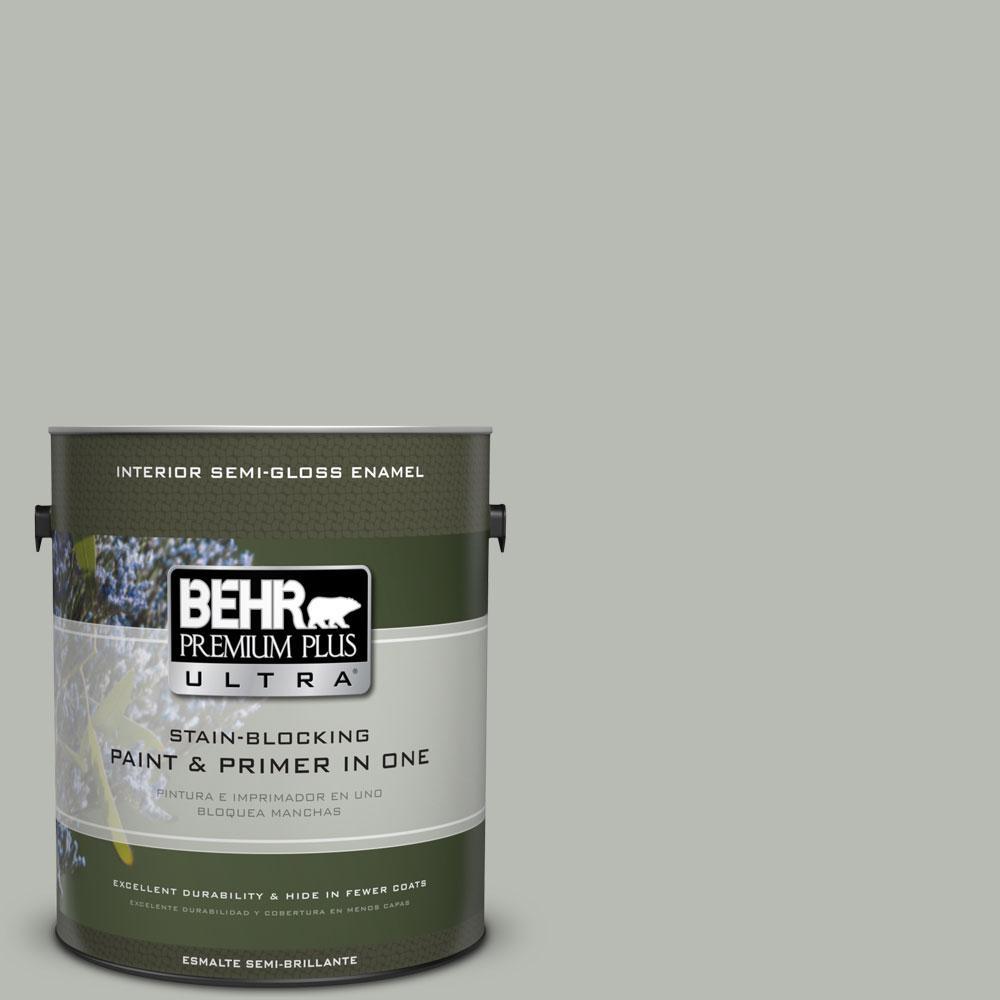 BEHR Premium Plus Ultra Home Decorators Collection 1-gal. #HDC-AC-21 Keystone Gray Semi-Gloss Enamel Interior Paint