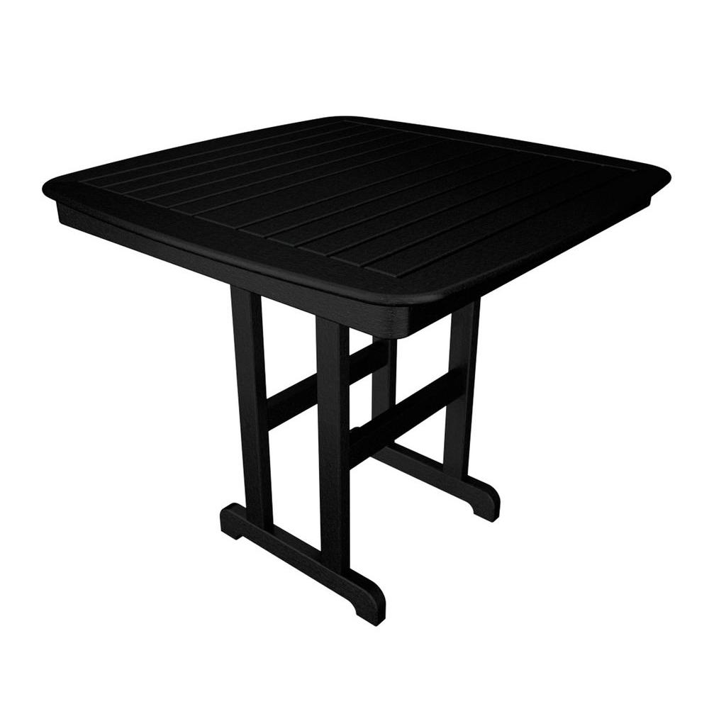 Nautical 44 in. Black Plastic Outdoor Patio Counter Table