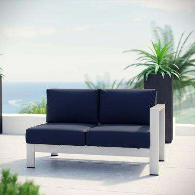 Shore Aluminum Right Arm Outdoor Sectional Chair Loveseat in Silver with Navy Cushions