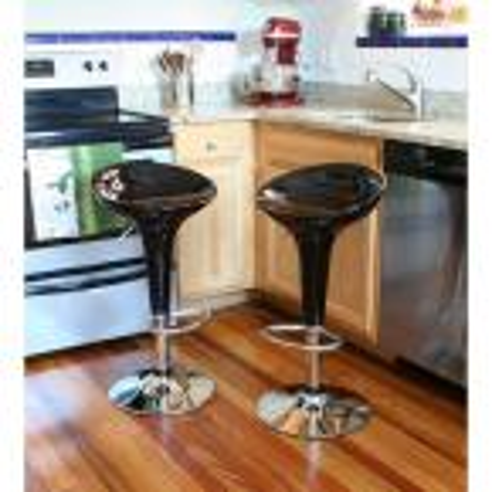 Adjustable Height Black Bar Stool (Set of 2)