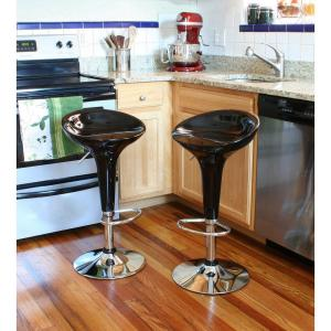 AmeriHome Adjustable Height Black Bar Stool (Set of 2) by AmeriHome
