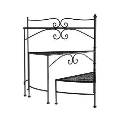 3-Tier Black Metal Decorative Folding Spiral Stair Plant Stand