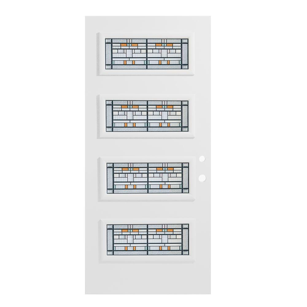 36 in. x 80 in. Chicago 4 Lite Painted White Left-Hand
