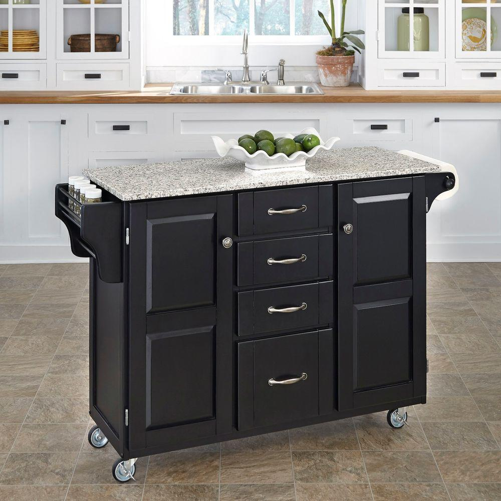 Black Kitchen Cart With Salt & Pepper Granite Top