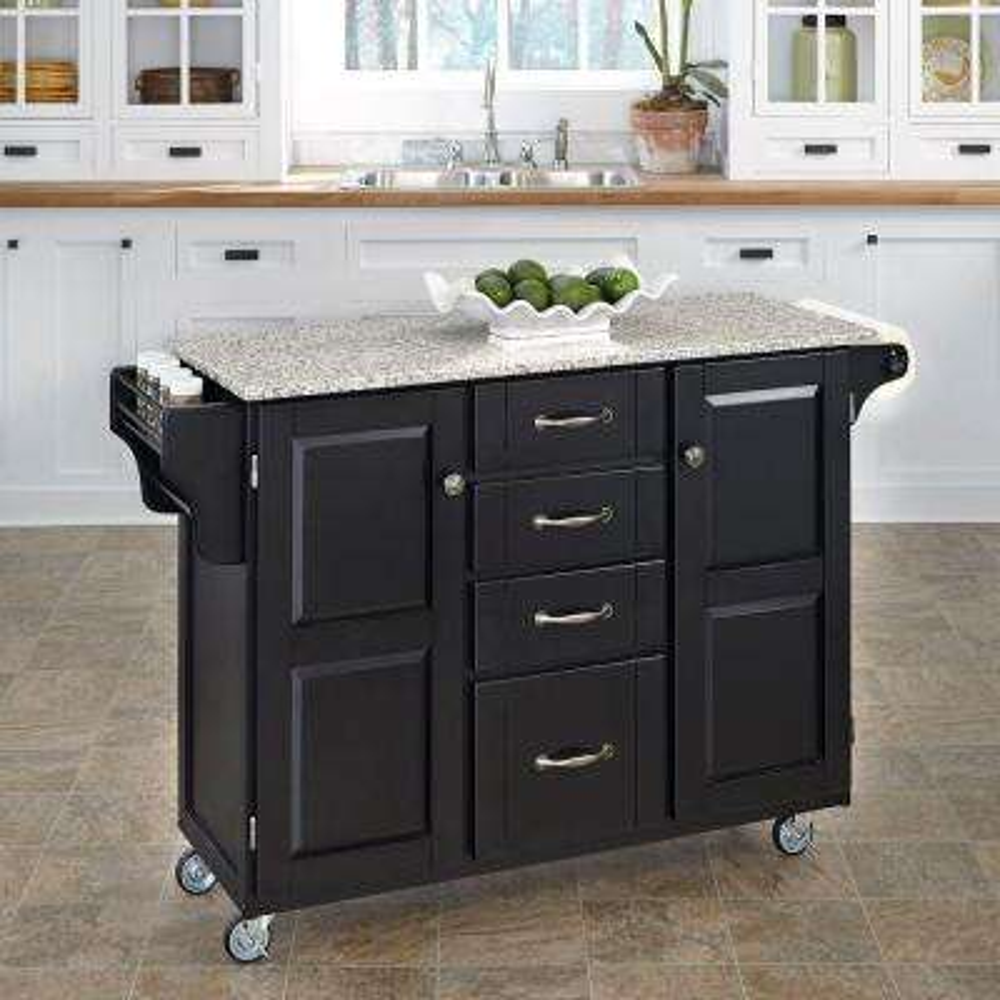 Black Kitchen Cart With Salt & Pepper Granite Top