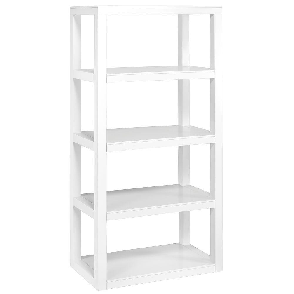 Home Decorators Collection Parsons 62 in. x 30 in. 4-Shelf Bookshelf in White